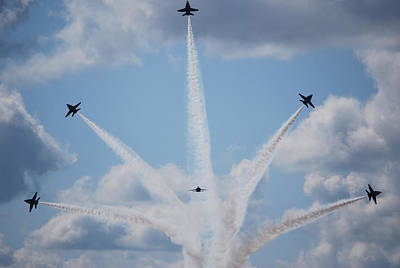 Honour Painting - Blue Angels Perform A Breakaway Maneuver  by Celestial Images