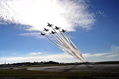 Fast Painting - Blue Angels Perform Delta Flat Pass by Celestial Images