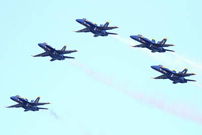 Jet Photograph - Blue Angels Pyramid Formation by Wingsdomain Art and Photography