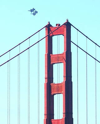 Blue Angels Soaring Above The Golden Gate Bridge Print by Wingsdomain Art and Photography