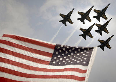 Angel Blues Photograph - Blue Angels Soars Over Old Glory As They Perform The Delta Formation by Celestial Images