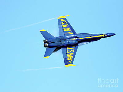 Jet Photograph - Blue Angels With Wing Vapor by Wingsdomain Art and Photography