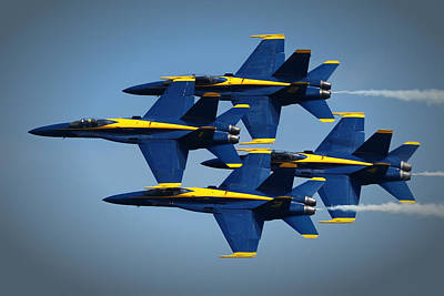 Photograph - Blue Angels Diamond Formation Over Ocean City Md by Bill Swartwout Fine Art Photography