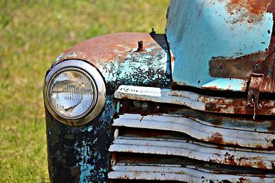Photograph - Blue Antique Chevy Grill- Fine Art by KayeCee Spain