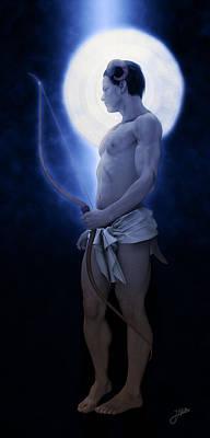 Archer Digital Art - Blue Archer Of The Moon by Joaquin Abella