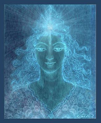 Sun Rays Mixed Media - Blue Arcturian Angel  by Ananda Vdovic