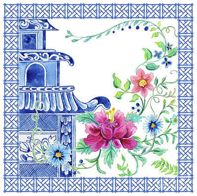 Painting - Blue Asian Influence 10 Vintage Style Chinoiserie Floral Pagoda W Chinese Chippendale Border by Audrey Jeanne Roberts