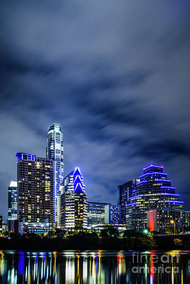 Space Travel Photograph - Blue Austin Skyline At Night by Paul Velgos