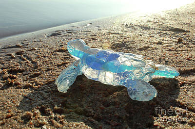 Sculpture - Blue Baby Sea Turtle From The Feral Plastic Series By Adam Long  by Adam Long