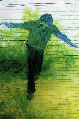 Contemplative Drawing - Blue Balance by Gabrielle Senza