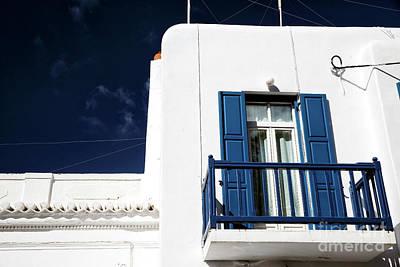 Photograph - Blue Balcony In Mykonos by John Rizzuto