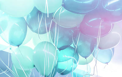 Photograph - Blue Balloons Background by Anna Om