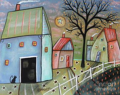 Contemporary Barn Landscape Painting - Blue Barn 1 by Karla Gerard