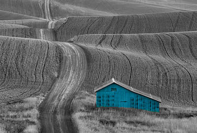 Photograph - Blue Barn Along A Country Road by Don Schwartz