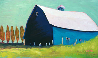 Painting - Blue Barn by Leslie Rock