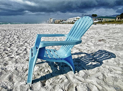 Photograph - Blue Beach Chair by Tony Grider