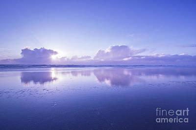 Different Worlds Photograph - Blue Beach by Masako Metz