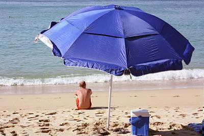 Photograph - Blue Beach Umbrella by Gravityx9 Designs