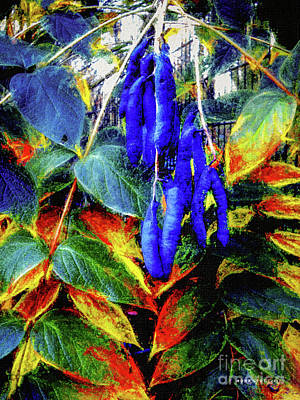 Green Beans Mixed Media - Blue Beans #2 by Mona Stut