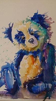 Painting - Blue Bear by Kathy  Karas
