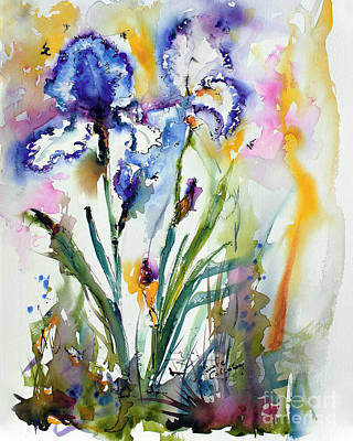 Painting - Blue Bearded Irises Flower Watercolor by Ginette Callaway