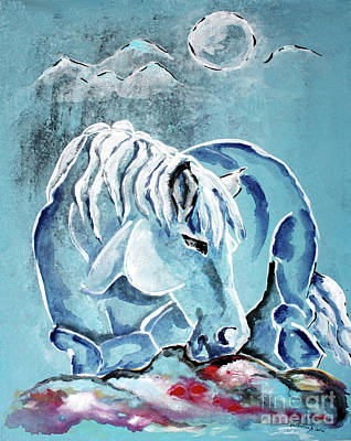 Horse Painting - Blue Beau - Horse Art By Valentina Miletic by Valentina Miletic