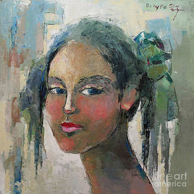 Pallet Knife Painting - Blue Eyes by Becky Kim