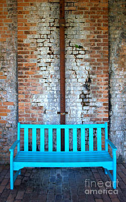 Photograph - Blue Bench And Bricks by Anjanette Douglas