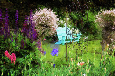 Photograph - Blue Bench In The Garden by Thom Zehrfeld