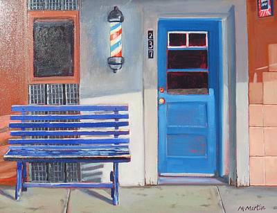 Mike Martin Painting - Blue Bench by Mike Martin