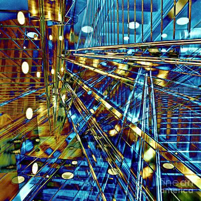 Futurism Architecture Wall Art - Digital Art - Blue Berlin Sound by Silva Wischeropp