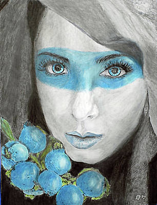 Drawing - Blue Berry Kisses by Quwatha Valentine
