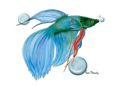 Painting - Blue Beta Fish by Anne Beverley-Stamps