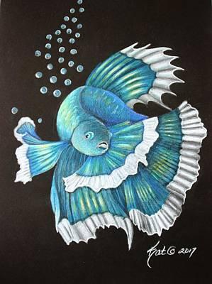 Blue Betta Art Print by Kat Ewing