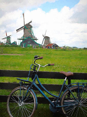 Netherlands Mixed Media - Blue Bicycle And Windmills by Susan Lafleur