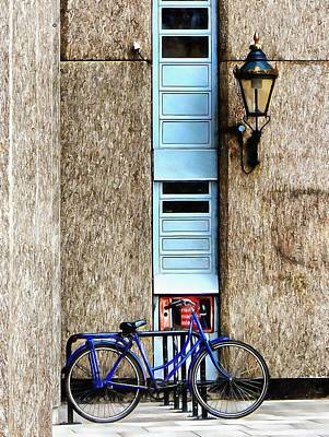 Photograph - Blue Bicycle At St Katharine Docks London by Dorothy Berry-Lound