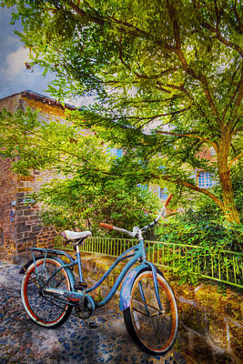 Velo Photograph - Blue Bicycle by Debra and Dave Vanderlaan