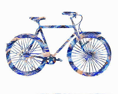 Painting - Blue Bicycle Watercolor Silhouette  by Irina Sztukowski