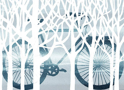 Painting - Blue Bicycle White Forest Silhouette by Irina Sztukowski