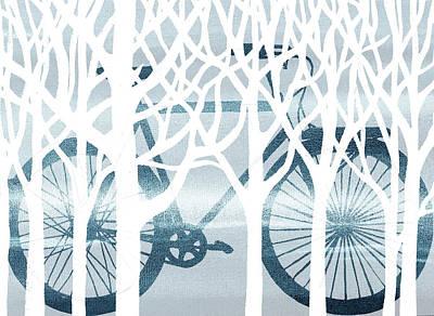 Painting - Blue Bicycle White Forest Silhouette by Irina Sztukowski