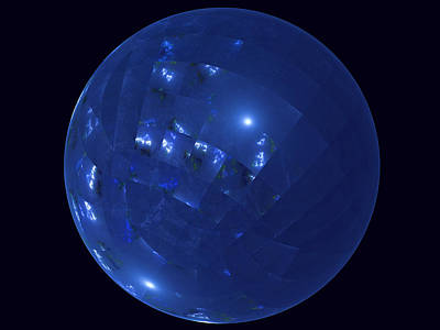 Digital Art - Blue Big Sphere With Squares by Ernst Dittmar