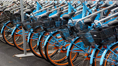 Photograph - Blue Bikes by Eva-Maria Di Bella