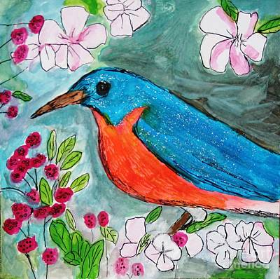 Painting - Blue Bird #2 by Victoria Hasenauer