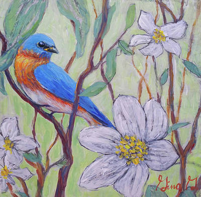 Mixed Media - Blue Bird And Blossoms by Gina Grundemann