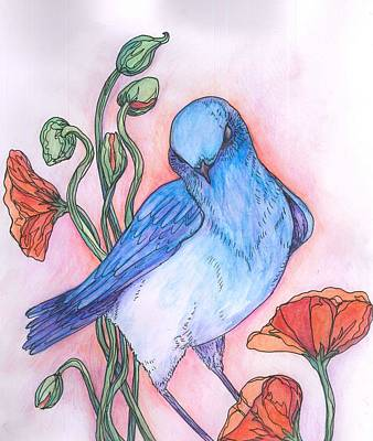Painting - Blue Bird by Cherie Sexsmith
