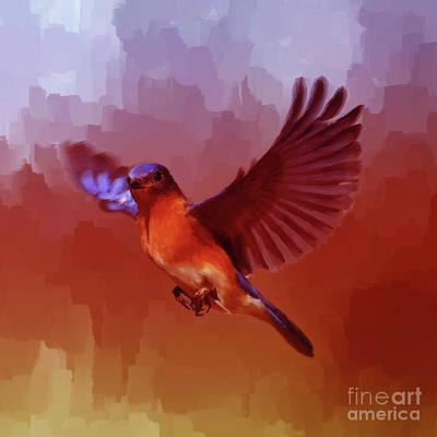 Sea Birds Painting - Blue Bird Flying  by Gull G
