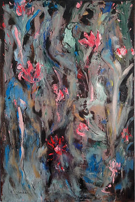 Painting - Blue Bird In Flower Garden by Katt Yanda