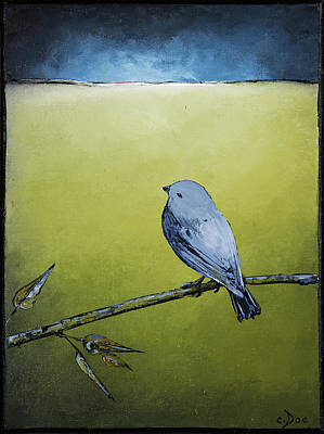 Painting - Blue Bird In Green by Carolyn Doe