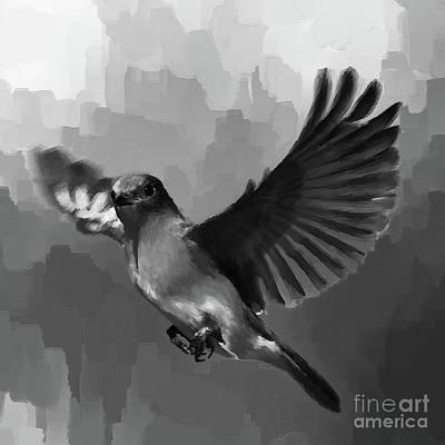 Sea Birds Painting - Blue Bird In Grey  by Gull G