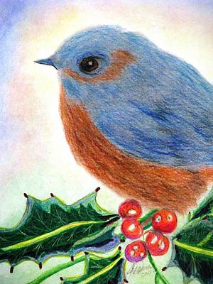 Bluebird Drawing - Blue Bird In The Holly by Angela Davies